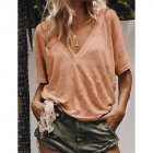 Women Summer V-neck Short-sleeved Solid Color Leisure Loose Sexy T-shirt Pink_L