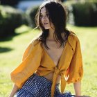 Women Summer Vintage Sexy Loose Beach Vacation Puff Sleeve Bow-knot Chiffon Shirt  Yellow_S