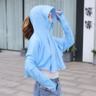 Women Sunscreen Clothing Summer Hooded Breathable Shawl Outdoor Zipper Riding Sun Protection Clothing blue_One size