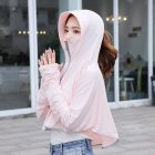 Women Sunscreen Clothing Summer Hooded Breathable Shawl Outdoor Zipper Riding Sun Protection Clothing apricot_One size