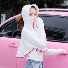 Women Sunscreen Clothing Summer Hooded Breathable Shawl Outdoor Zipper Riding Sun Protection Clothing white One size