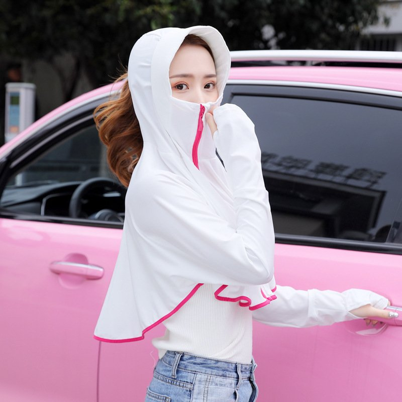 Women Sunscreen Clothing Summer Hooded Breathable Shawl Outdoor Zipper Riding Sun Protection Clothing white_One size