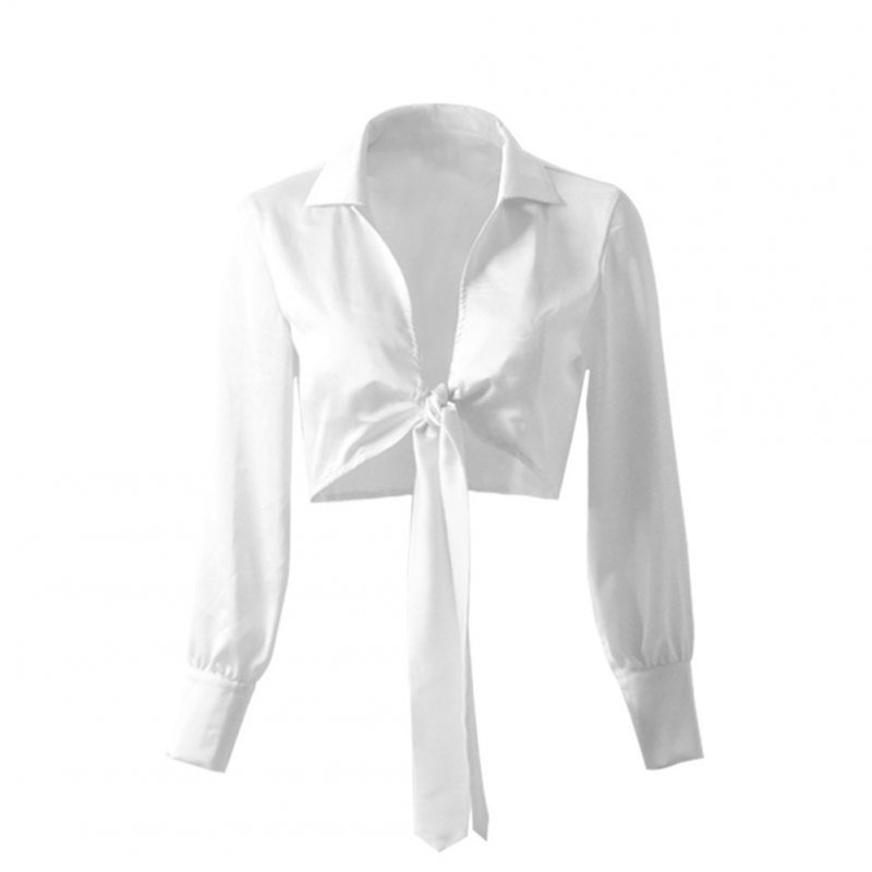 Women V-neck Satin Tops Long-sleeved Bowknot Tie Fashion Crop Top Blouse 8207-2 white_L
