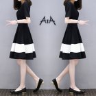 Women White Black Stripes Short Sleeve Thin A-line Dress Black and white stitching_L