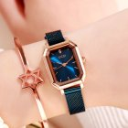 Women's Bling Starry Dial Analog Waterproof Quartz Wrist Watches for Student Casual Office  Rose gold shell blue plate