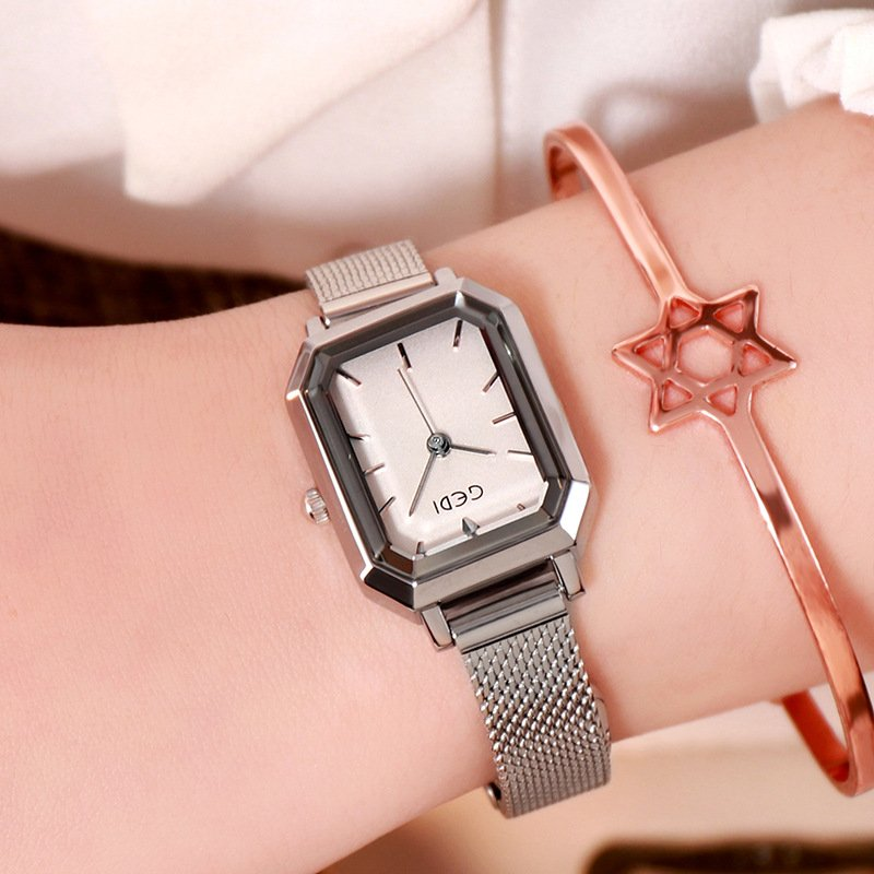 Women's Bling Starry Dial Analog Waterproof Quartz Wrist Watches for Student Casual Office  Silver shell white plate