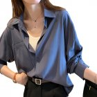 Women's Blouse Spring and Autumn Solid Color Loose Long Sleeve Shirt Blue gray_M