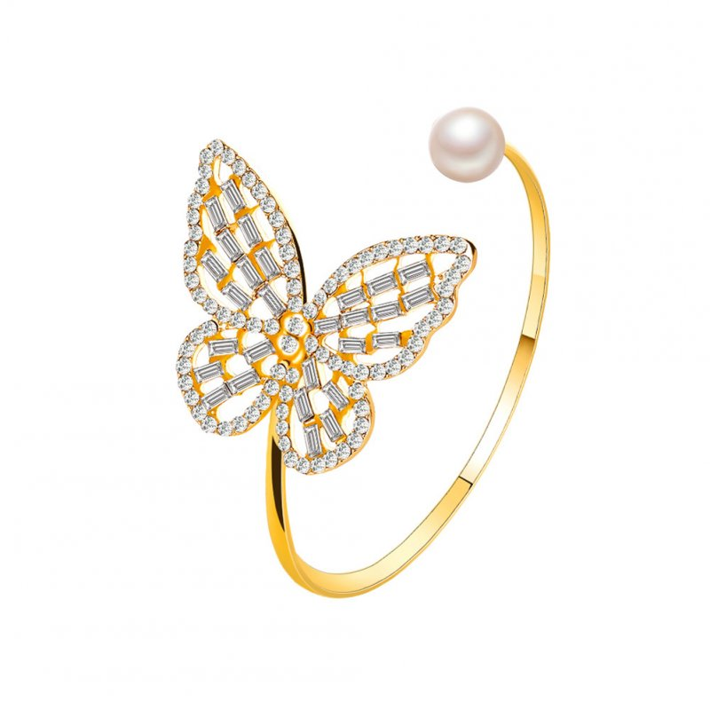 Women's Bracelet All-match Hollow Zircon  Pearl Butterfly-shape Open Bracelet Golden