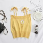 Women s Camisole Summer Knitted Embroidery Slim Cropped Small Camisole yellow free size
