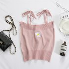 Women's Camisole Summer Knitted Embroidery Slim Cropped Small Camisole Pink_free size