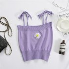 Women's Camisole Summer Knitted Embroidery Slim Cropped Small Camisole purple_free size