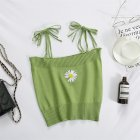 Women s Camisole Summer Knitted Embroidery Slim Cropped Small Camisole green free size