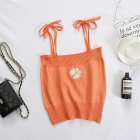 Women s Camisole Summer Knitted Embroidery Slim Cropped Small Camisole Orange free size