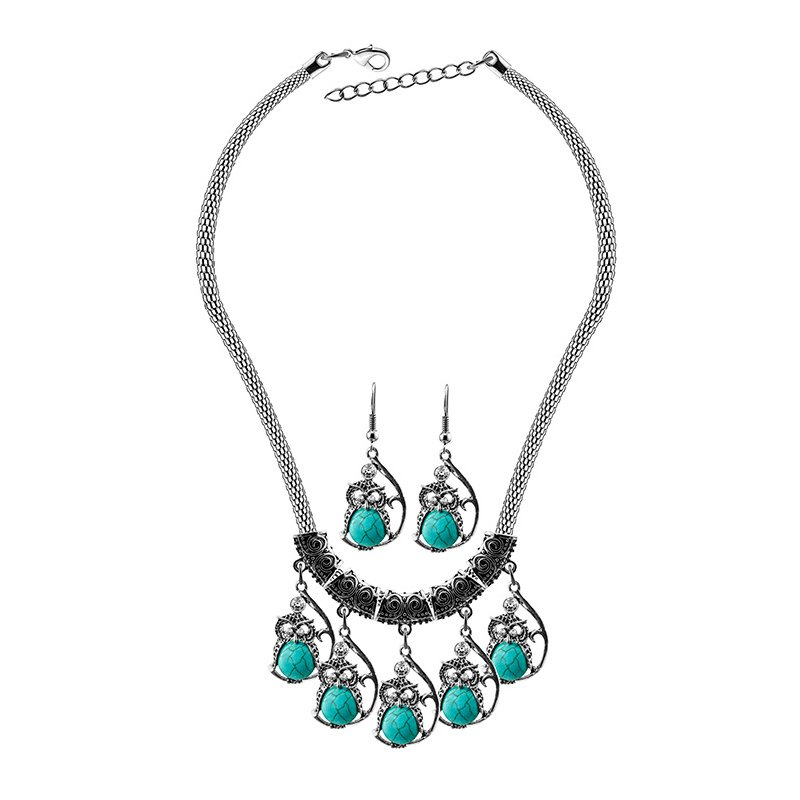 Women's Charming Wedding Jewellery Set Retro Owl Turquoise Necklace Earrings Set