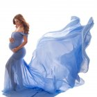Women's Dress Off-the-shoulder Long Photography Chiffon Dress sky blue_free size
