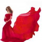 Women's Dress Off-the-shoulder Long Photography Chiffon Dress China red_free size
