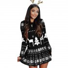 Women's Dress Slim Long-sleeve Crew-neck Printing Short Skirt black_L