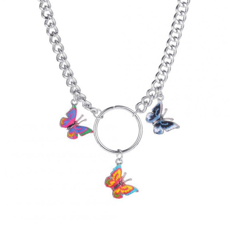 Women's Fashion Colorful Butterfly Necklace Temperament Thick Chain Clavicle Chain 01 Silver 5541