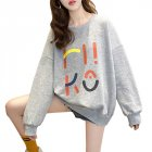 Women s Hoodie Spring and Autumn Thin Loose Pullover Long sleeve  Hooded Sweater Gray  XXL