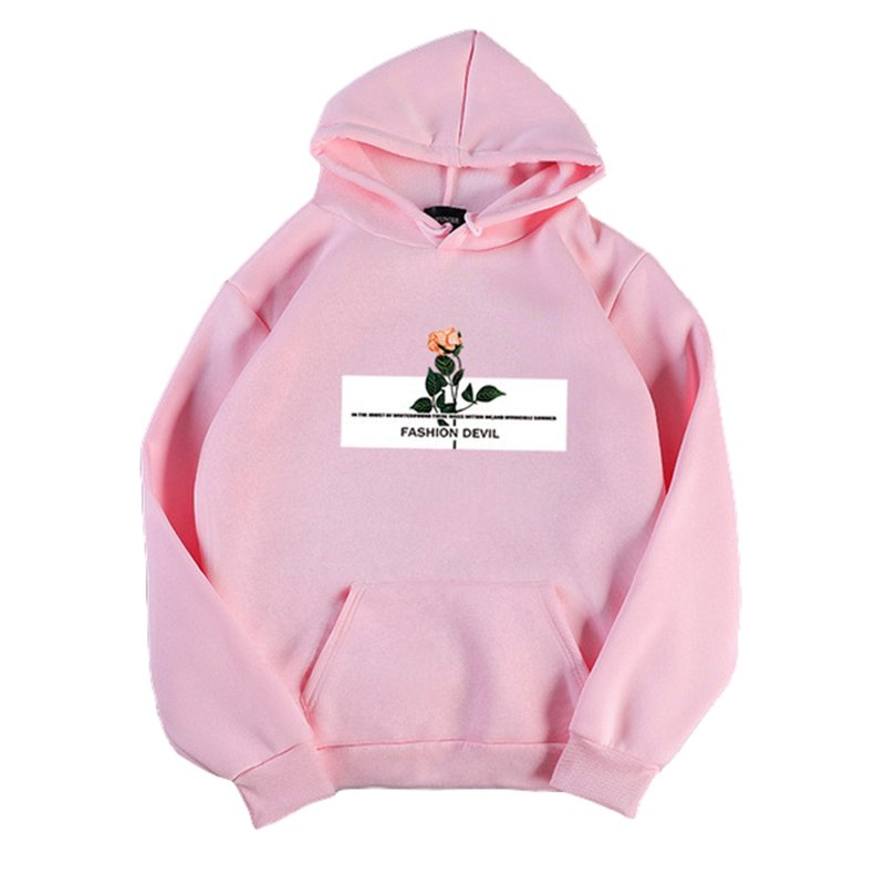 Women's Hoodies Autumn and Winter Pullover Thick Casual Fleece Long-sleeve Hooded Sweater Pink_M