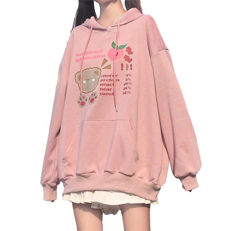 Women's Hoodies Fall Winter Loose Long-sleeve Hooded Sweater Pink_L
