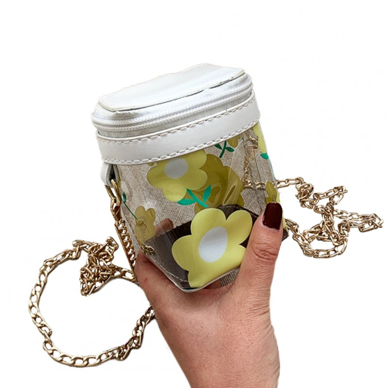 Women's Korean Version Of The Wild Transparent Jelly Chain Shoulder Fashion Cute Mini Bag white