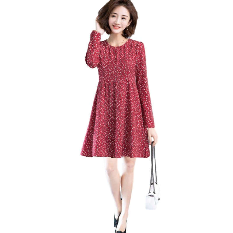 Women's Leisure Dress Autumn Loose Round Neck Long-sleeved Printing Mid-length Dress red_L