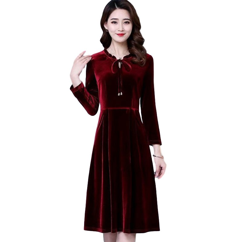 Women's Leisure Dress Autumn and Winter Solid Color Mid-length Long-sleeve Dress Red wine_L