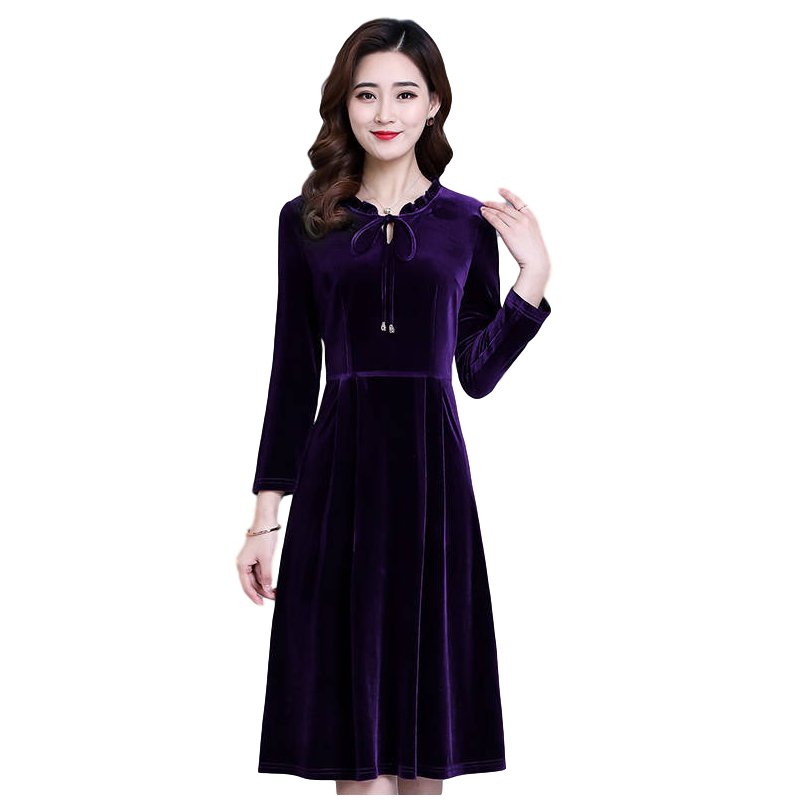 Women's Leisure Dress Autumn and Winter Solid Color Mid-length Long-sleeve Dress purple_4XL