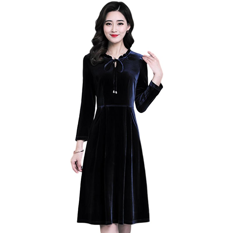 Women's Leisure Dress Autumn and Winter Solid Color Mid-length Long-sleeve Dress black_3XL