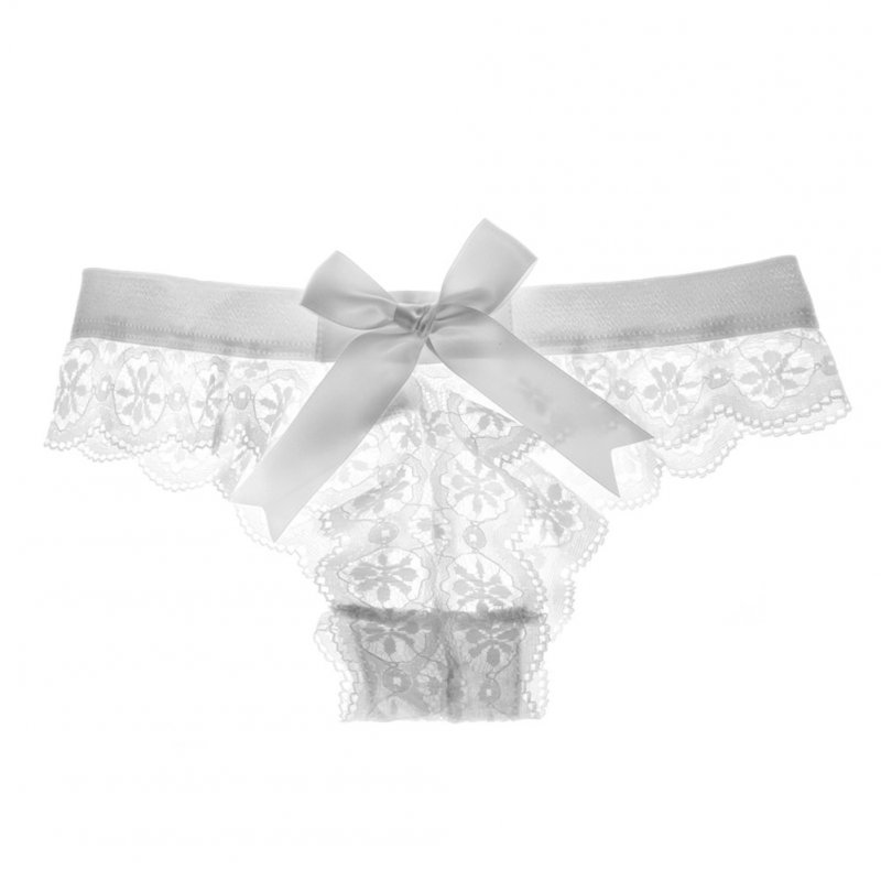 Women's Lingerie G-string Lace Sexy Thong Sheer Panties Style Transparent Panties white_,M
