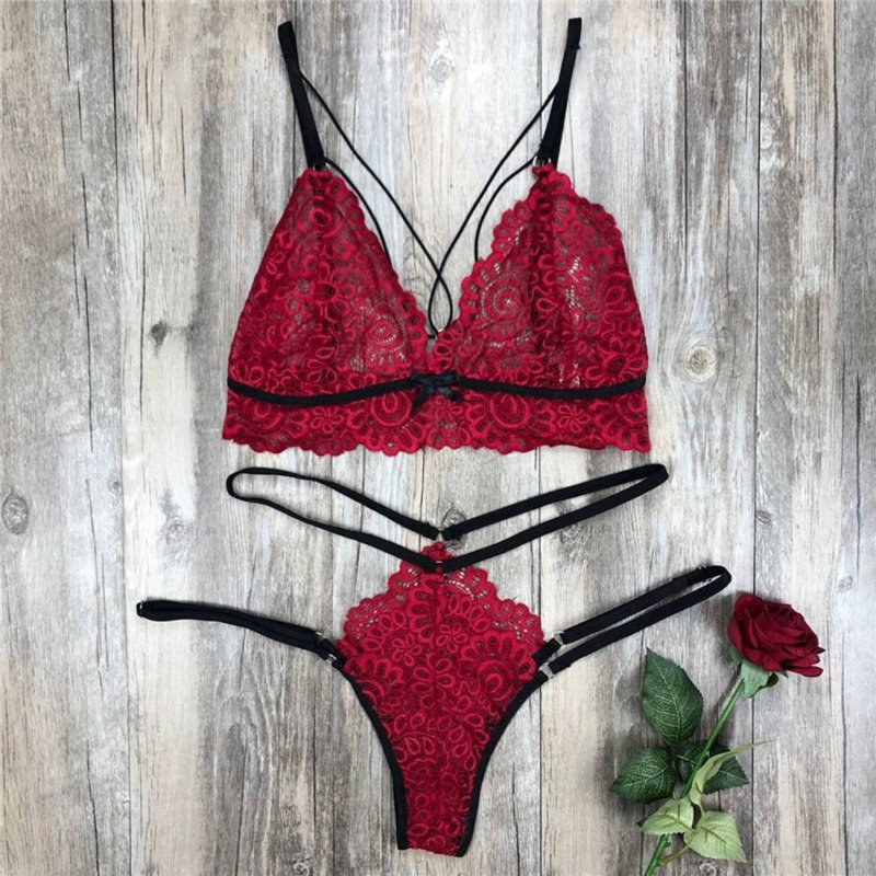 Women's Lingerie Plus Size Erotic Sexy Bikini Porno Lace Costume rose Red_M