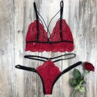 Women's Lingerie Plus Size Erotic Sexy Bikini Porno Lace Costume rose Red_S