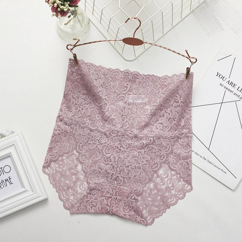 Women's Lingerie Sexy Lace Mesh Floral Seamless Plus Size High Waist Underpants pale pinkish gray_K