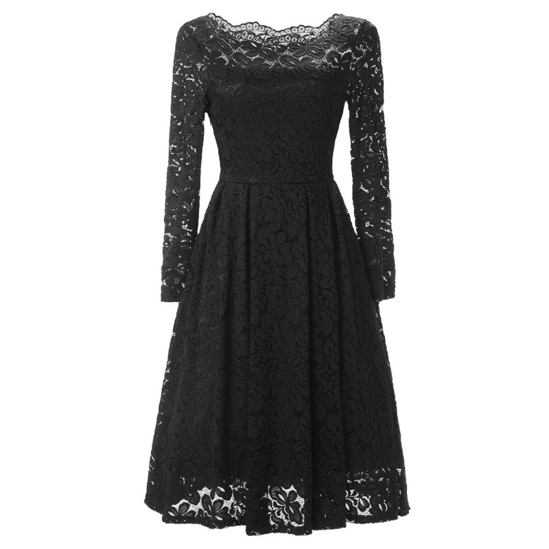 Women's Long Sleeve Sexy Straight Collar Dress Elegant Lace V Neck Casual Dress