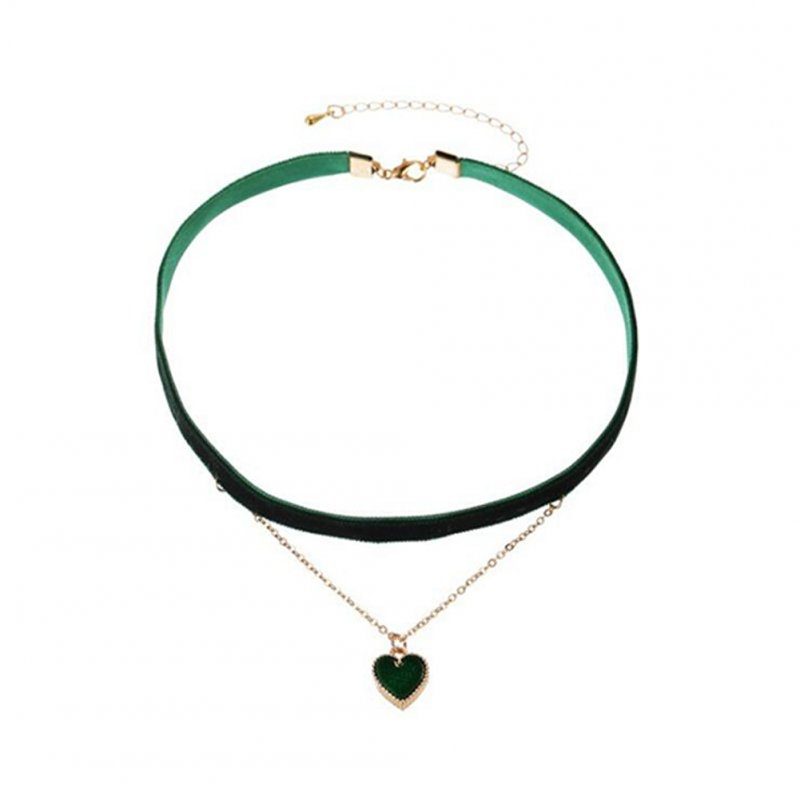 Women's Necklace Flannel Sexy Double-layer Love-heart Pendant Clavicle Chain Dark green