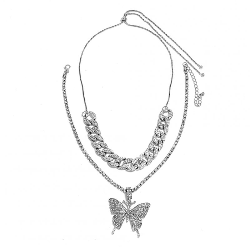 Women's Necklace Hip Hop Style Diamond-mounted Double-deck Chain Butterfly-shape Necklace Silver