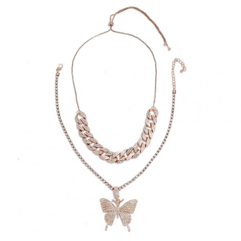 Women's Necklace Hip Hop Style Diamond-mounted Double-deck Chain Butterfly-shape Necklace Golden
