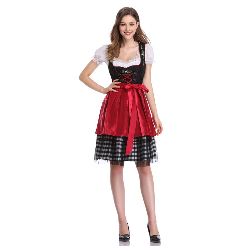Women's Oktoberfest Plaid Mesh Stitching Embroidery A Line Formal Dresses Suit