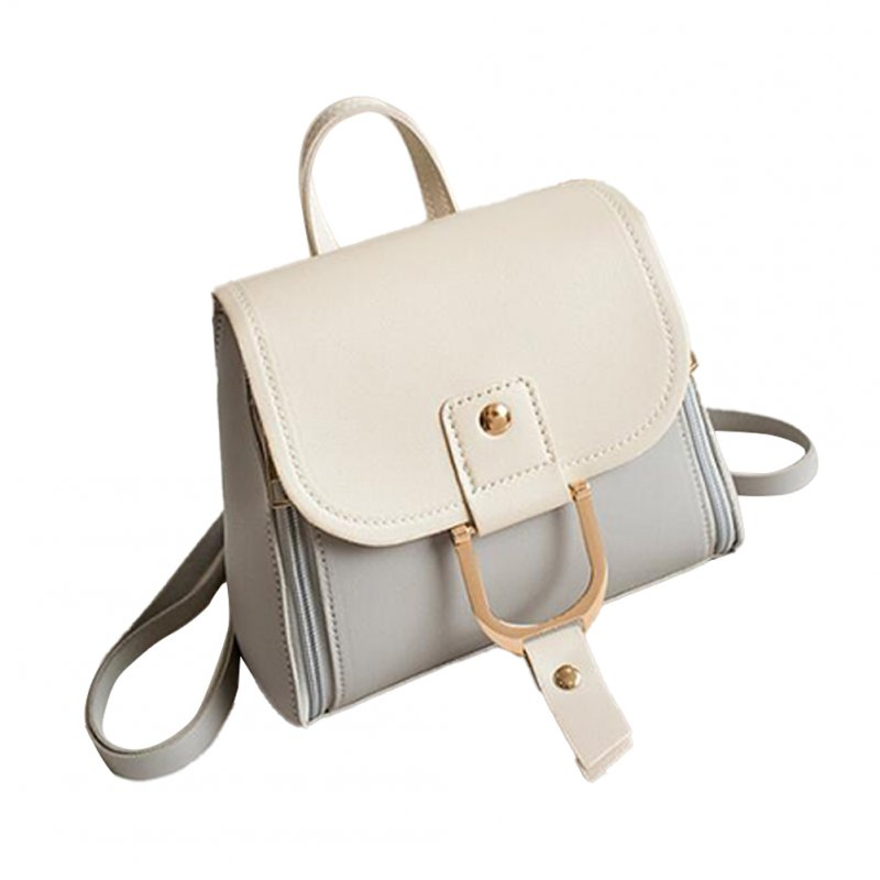 Women's PU Leather Hit Color Casual Small School Bag Shoulder-Shoulder Fashion Bag gray