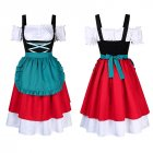 Women s Retro Color Block Stylish Cold Shoulder Pleated Dress Suit for Oktoberfest