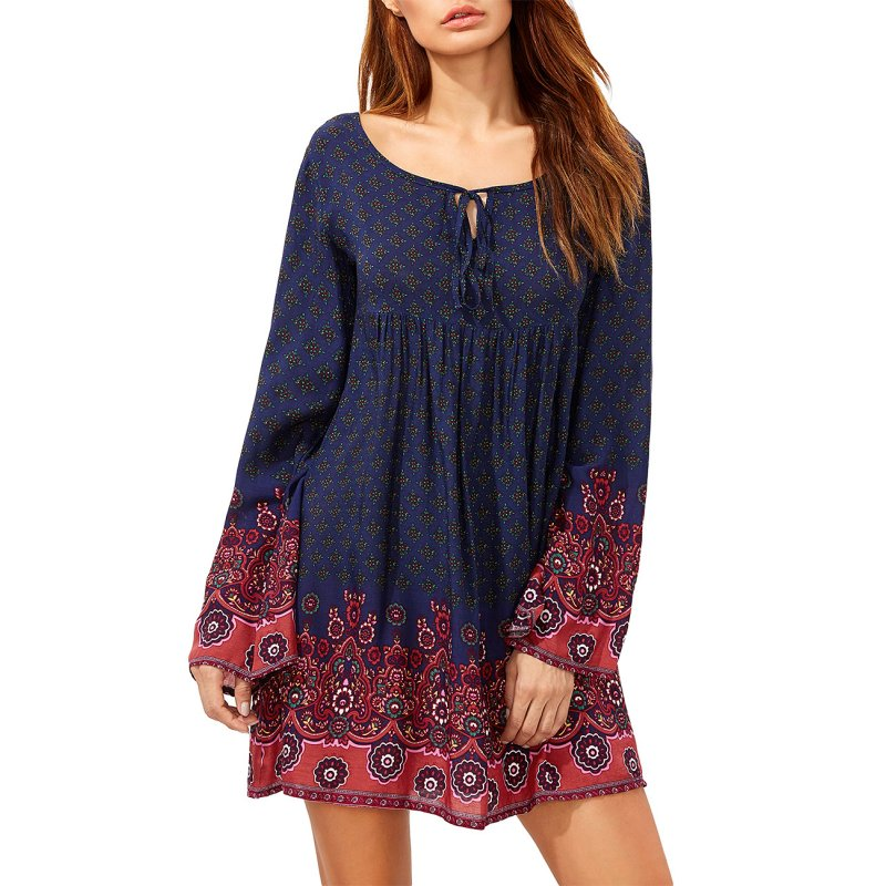 Women's Round Neck Long Sleeve Tie Floral Printing Loose Casual Dress Navy Blue