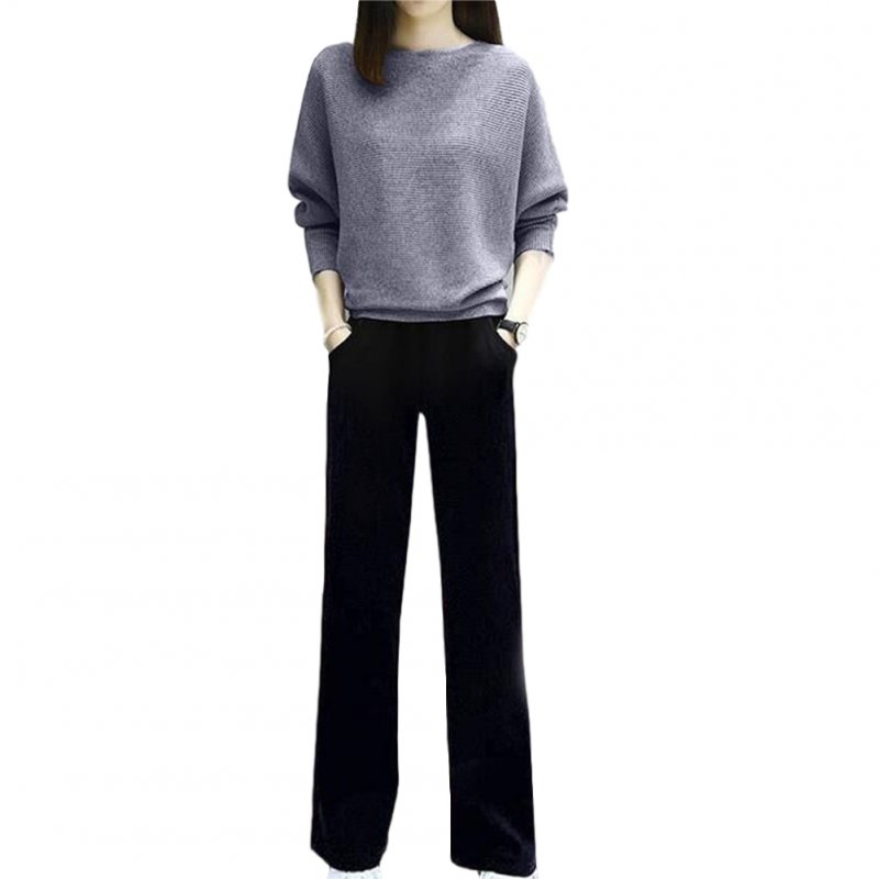 Women's Suit Autumn Solid Color Knitted Casual Loose Large Top + Pants gray_L