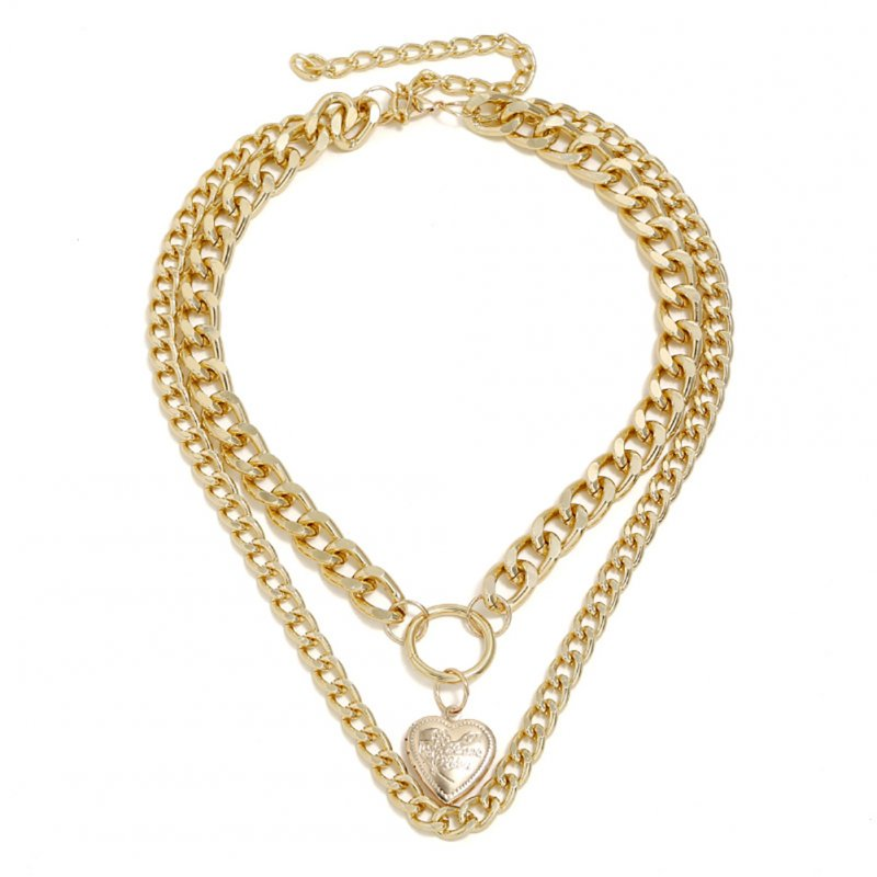 Women's Summer Beach Alloy Chain Multilayer Heart Pendant Necklace Gold