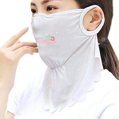 Women's Summer Flower Embroidery Wave Edge Sunscreen Ice Silk Mask Dustproof Mask Polka dot gray_One size