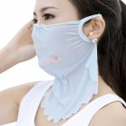 Women's Summer Flower Embroidery Wave Edge Sunscreen Ice Silk Mask Dustproof Mask Wave blue_One size