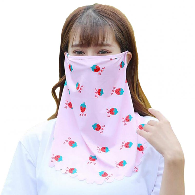 Women's Summer Ice Silk Sweet Printed Sunscreen Mask Cover Face And Neck Scarf Veil Pink_One size