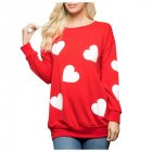 Women s Sweatshirt Long sleeve Love Printed Casual Round Neck Top red M