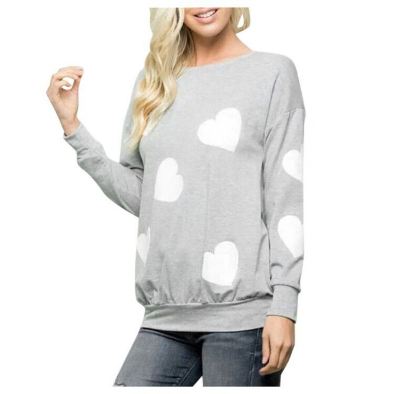 Women's Sweatshirt Long-sleeve Love Printed Casual Round Neck Top gray_XL