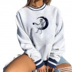 Women's Sweatshirts Autumn Casual Printing Pullover Sweatshirt moon_S